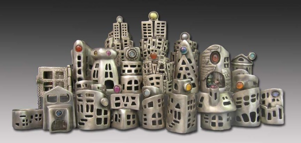 """City of Rings"" by Hadar Jacobson. Fine silver and assorted stones."