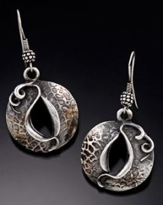 """New Beginnings #006"" earrings by Gale Schlagel. Fine silver."