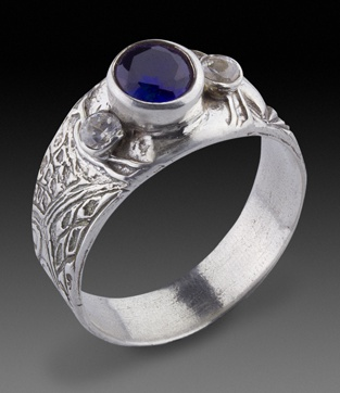 Ring by Ruth Greening. Fine silver and cubic zirconia.