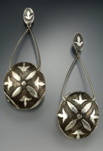 Fine silver earrings by Lora Hart.